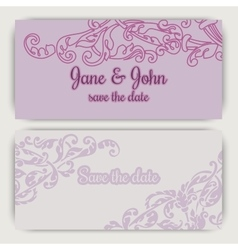Wedding invitation cards in pink color vector