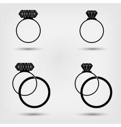 Wedding rings set vector image vector image
