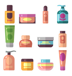 Woman beauty cosmetics product flat icons vector