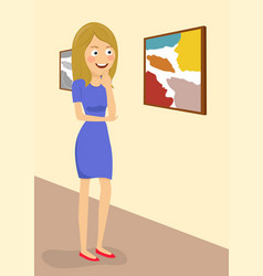 Young woman in gallery room looking at paintings vector