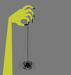 Zombie hand holding creepy swinging spider vector