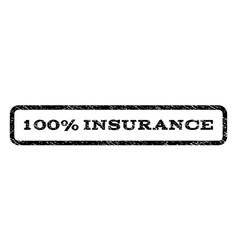 100 percent insurance watermark stamp vector