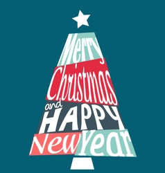 Colorful merry christmas and happy new year tree vector