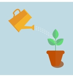 Watering can with plant vector