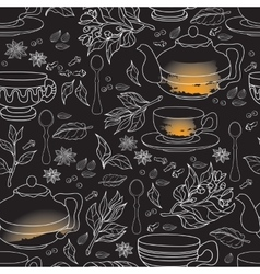 Tea Mint and Spice seamless pattern Hand drawn vector image