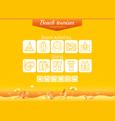 Summer beach travel icon set infographics banner vector