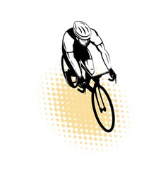 male cyclist riding racing bicycle vector image