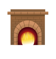 Christmas chimney fire brick decoration vector