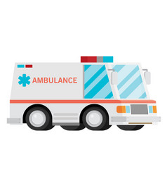 Ambulance cartoon flat vector