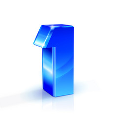glossy blue one 1 number 3d on white vector image