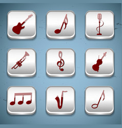 Music buttons icon set vector