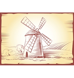 Windmill sketch vector