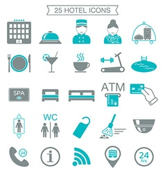 25 hotel services icons silhouette color block vector