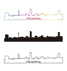 Hiroshima skyline linear style with rainbow vector