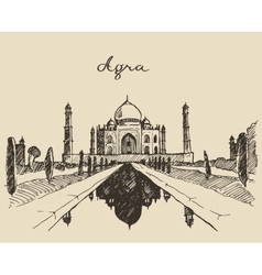 Taj mahal located agra uttar pradesh india sketch vector
