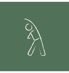 Man making exercises icon drawn in chalk vector