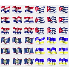Croatia cuba belize buryatia set of 36 flags of vector