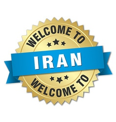 Iran 3d gold badge with blue ribbon vector