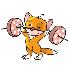 Kitten-athlete lifts the bar vector