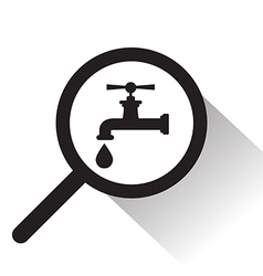 Magnifying glass with faucet icon vector