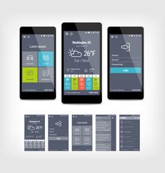 Mobile app ui set of modern design vector