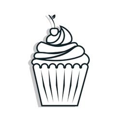 Delicious cupcake dessert line icon vector image