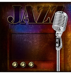 abstract jazz background with retro microphone and vector image