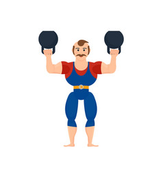 athlete showing strength exercises with dumbbells vector image vector image