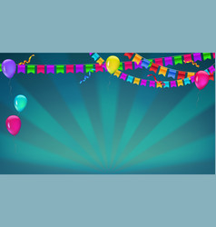 Banner with sunbeams in broadway style garland of vector
