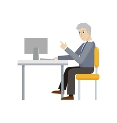 Business man working with desktop computer vector
