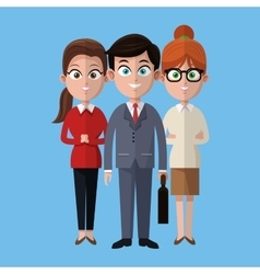 Cartoon man and women colleagues work business vector