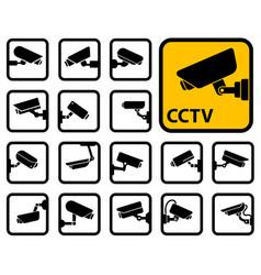 cctv cameras icons vector image vector image
