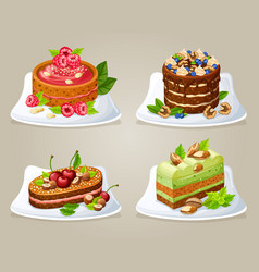 Colorful decorative cakes on plates set vector