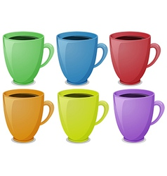 Colorful mugs with coffee vector