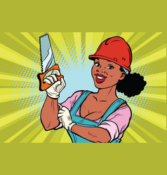Construction worker with saw woman professional vector