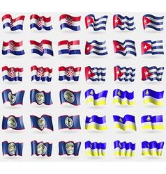 Croatia cuba belize buryatia set of 36 flags of vector