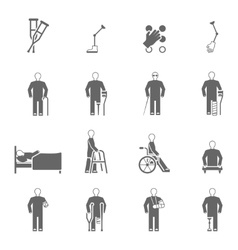 Disabled People Icons Set vector image