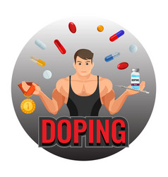 Doping drugs and fit sportsman inside circle vector