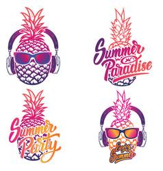 enjoy summer set of summer emblems pineapple with vector image vector image
