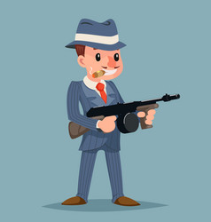 Gangster with submachine gun thug criminal vector
