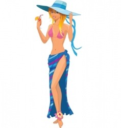 Girl in swimsuit vector vector