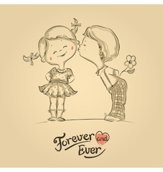Hand drawn of kissing boy and girl vector