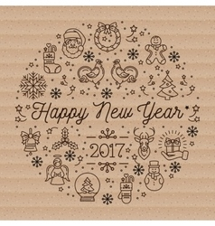 Happy new year 2017 layout linear icons on vector