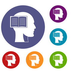 Head with open book icons set vector