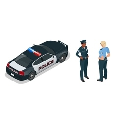 Isometric officer and police car with siren light vector image