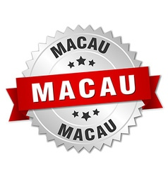 Macau round silver badge with red ribbon vector