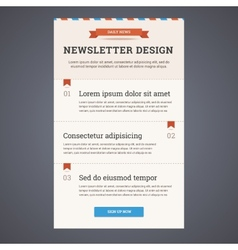 Newsletter template design with sign up button in vector