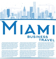 Outline Miami Skyline with Blue Buildings vector image vector image