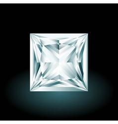 Princess cut diamond on black background vector