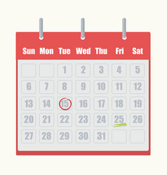 red flip-flop calendar with gray numbers close-up vector image
